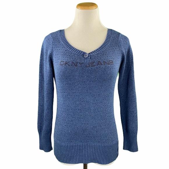 DKNY Jeans Petite Blue Button Detail Knit Sweater